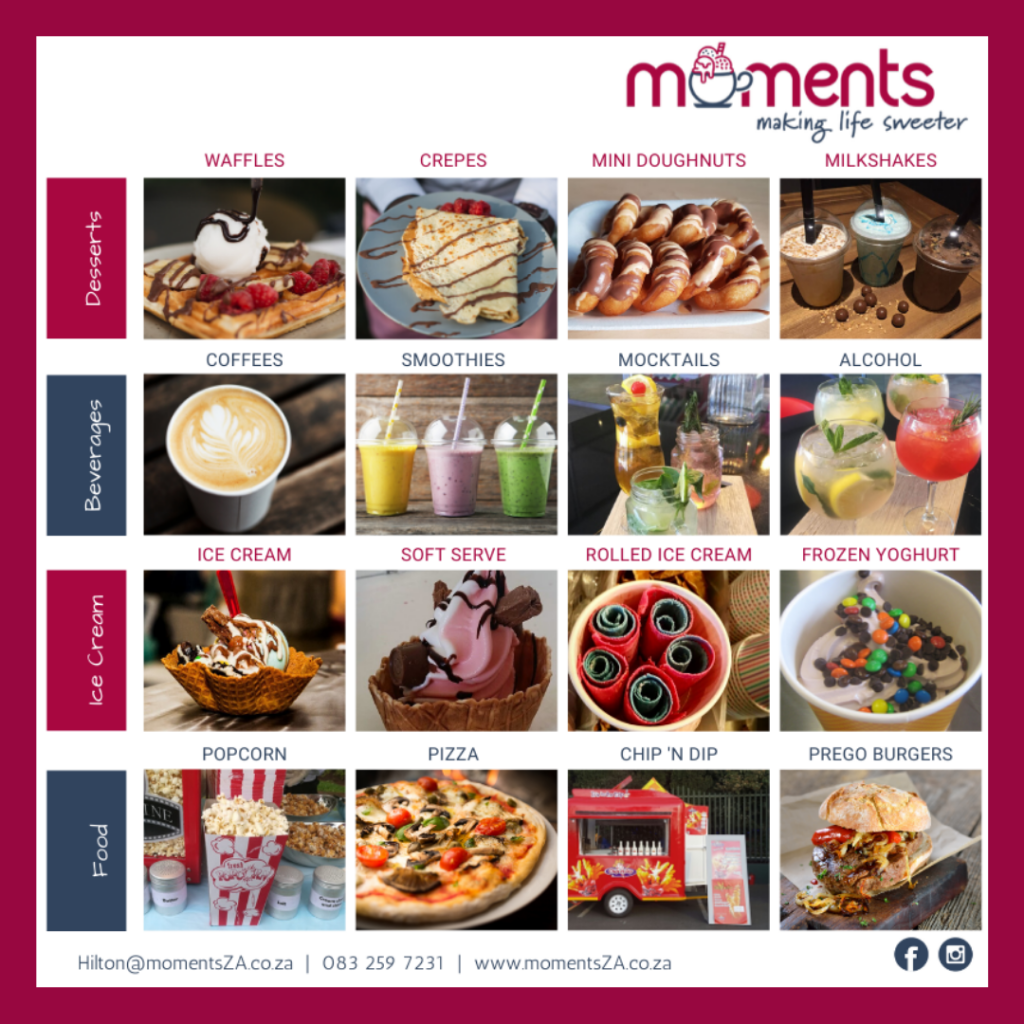 Moments desserts and beverages products